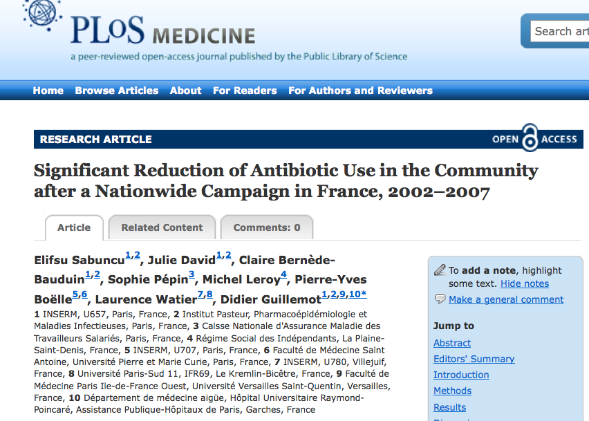 capture écran antibiotiques PLoS Med